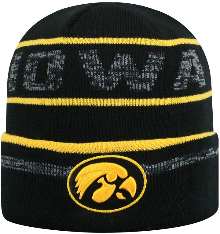 10814504 Top of the World Adult Iowa Hawkeyes Effect Beanie Iowa Hawkeyes, Black  Knit, Top