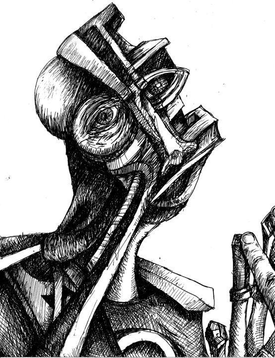 """Man in the Mirror"" black ink, 2010"