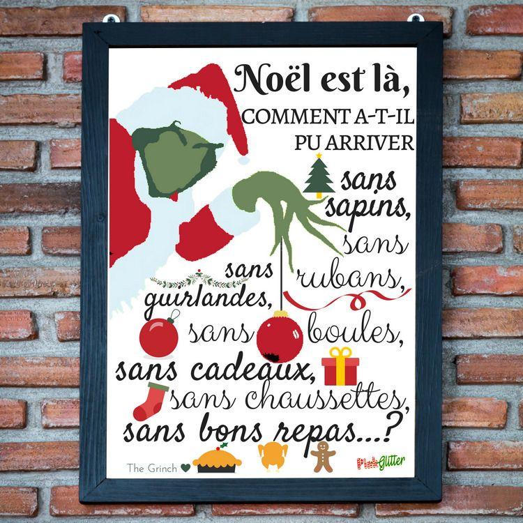 """Super Poster de Noël """" Noël est là - Le Grinch """" à télécharger et  AY72"""