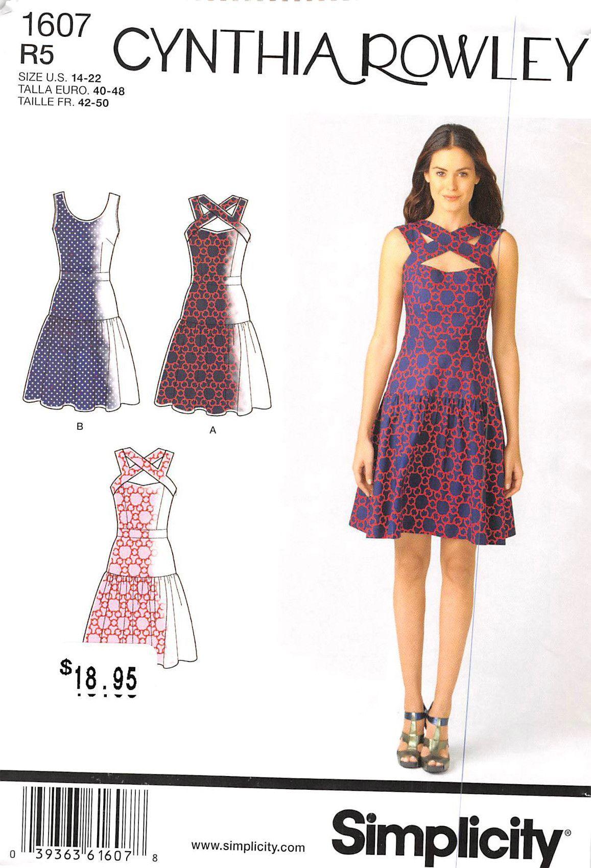 SIMPLICITY 1607 - FROM 2013 - UNCUT - MISSES DRESS | Costura varias ...