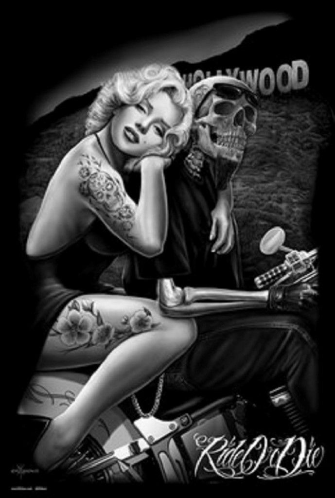 24x36 poster marilyn monroe ride or die norma jean for Marilyn monroe with tattoos poster