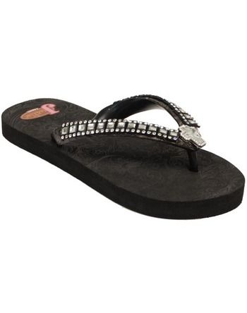 0ef2fa6dd Justin Lou Flip Flops - Black With Clear Cross Rhinestone