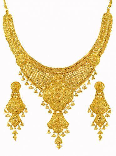 22k Gold Bridal Necklace Set Ajst59495 Us 4 537 22k Gold Bridal Necklace And Earrings Gold Bridal Necklace Gold Necklace Designs Bridal Gold Jewellery