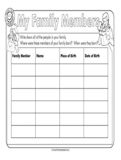 Family Members Worksheet | Teachers | Pinterest | Worksheets and ...