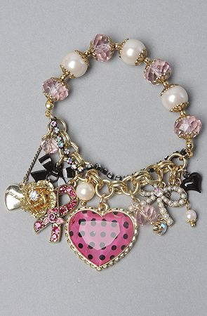 Betsey Johnson The Pink Ribbon Heart Bead Bracelet • this looks like something my mother would give as a gift.