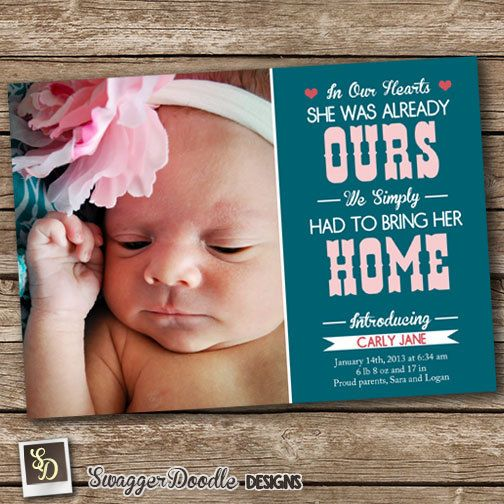 Personalized Baby Girl Birth Announcement Digital File In Our Hearts
