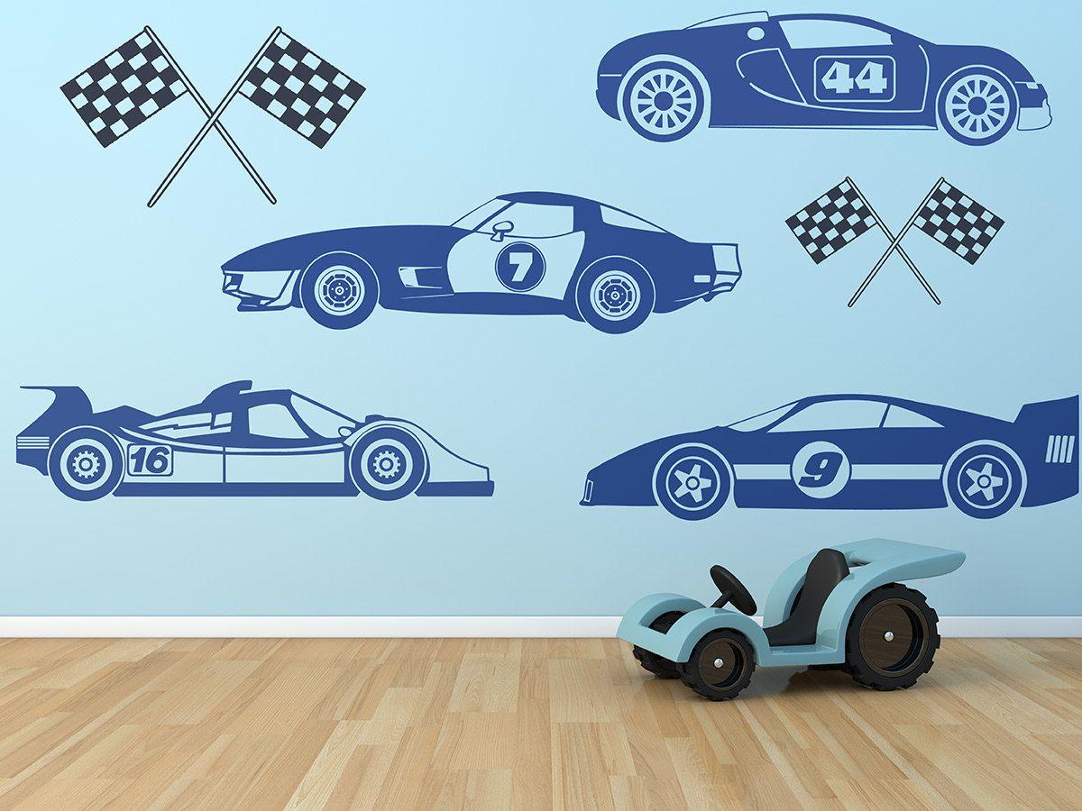 Kids Race Car Set Wall Decals Boys Wall Art Race Cars Race Etsy Removable Vinyl Wall Art Boy Wall Art Kids Races