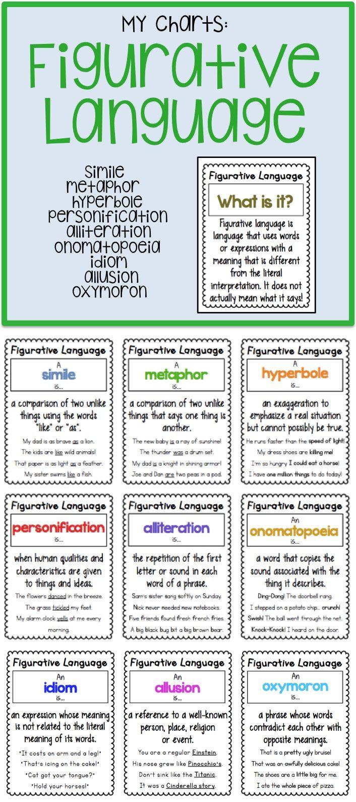 9 Mini And Standard Size Figurative Language Charts Figurative Language Figurative Language Anchor Chart Language