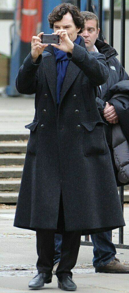 Details about Sherlock Holmes Benedict Cumberbatch Charcoal Grey Wool Long Trench Coat Jackets