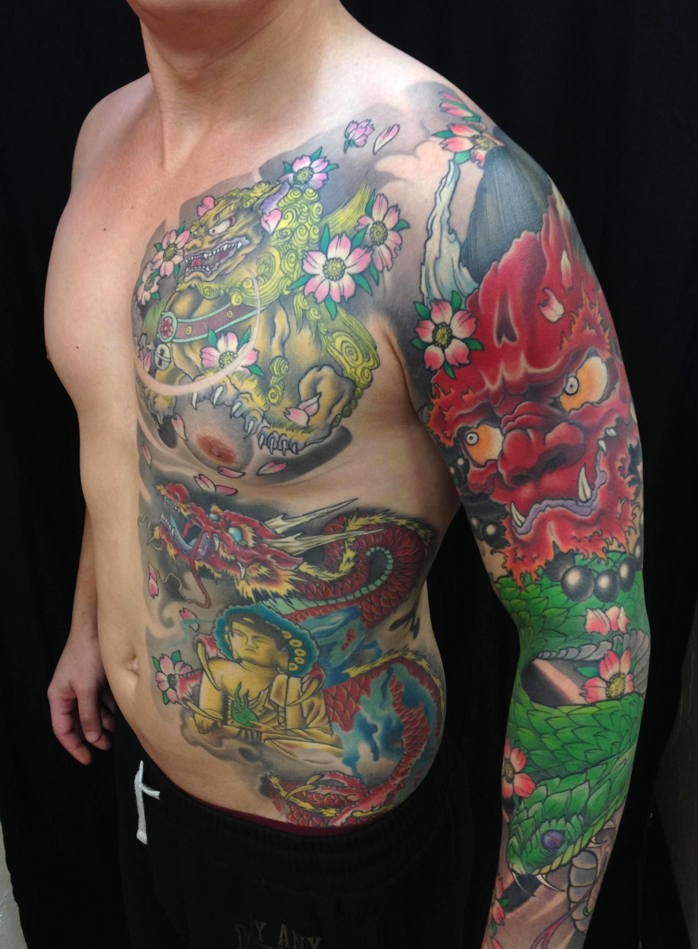 Half Traditional Japanese Body Suit By Leo At Funhouse Tattoo San Diego Ca In 2020 Japanese Tattoo Body Suit Tattoo Half Sleeve Tattoos Dragon