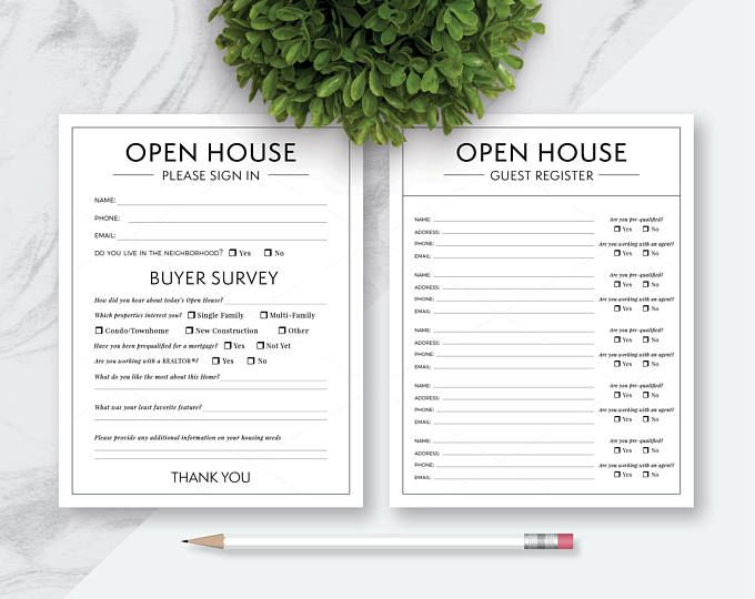 Open House Real Estate Please Sign In Forms, Please Sign In and