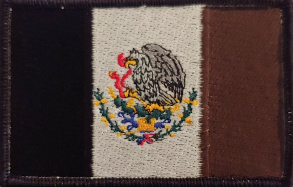MEXICO  Flag Patch With VELCRO® Brand Fastener Tactical Emblem Gold Border