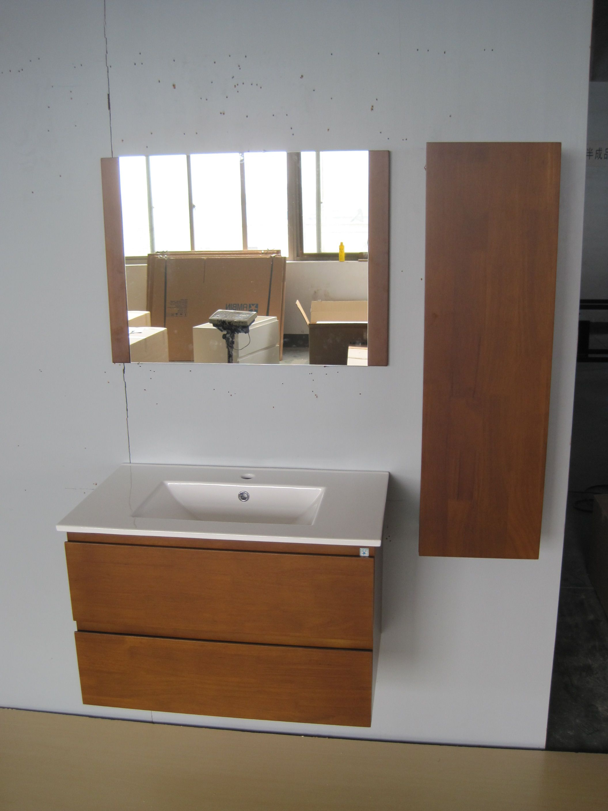Best Quality Bathroom Vanity Cabinet With Flat Thin Basin And Side Tall