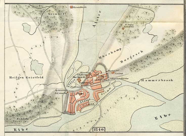 Karte Hamburg um 1240, aus E. H. Wichmann Heimatskunde