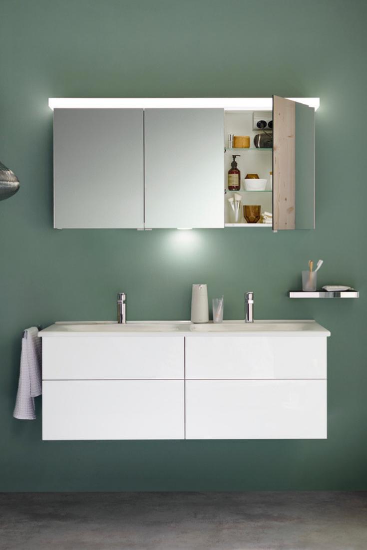 Burgbad Essento Set Bestehend Aus Spiegelschrank Mit Led Beleuchtung Und Led Waschtischbeleuchtung Keramik Doppelwaschtisch Und Waschtischunterschrank Breite Waschtischunterschrank Spiegelschrank Doppelwaschtisch Mit Unterschrank