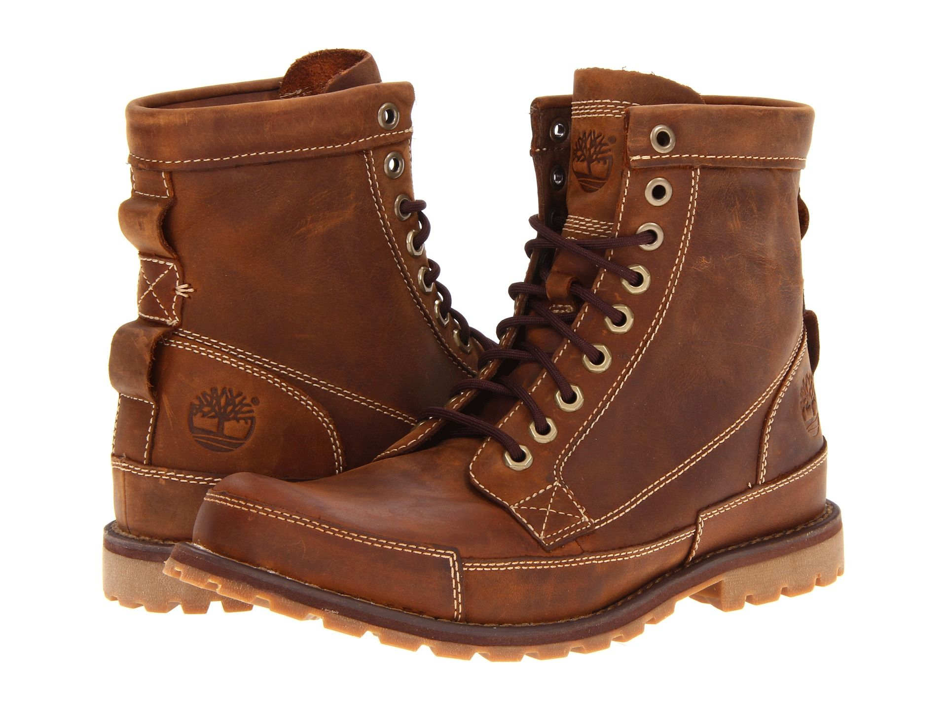 Timberland Earthkeepers 6″ Leather Boot For MEN, Medium Brown Oiled Nubuck/Tan  Canvas