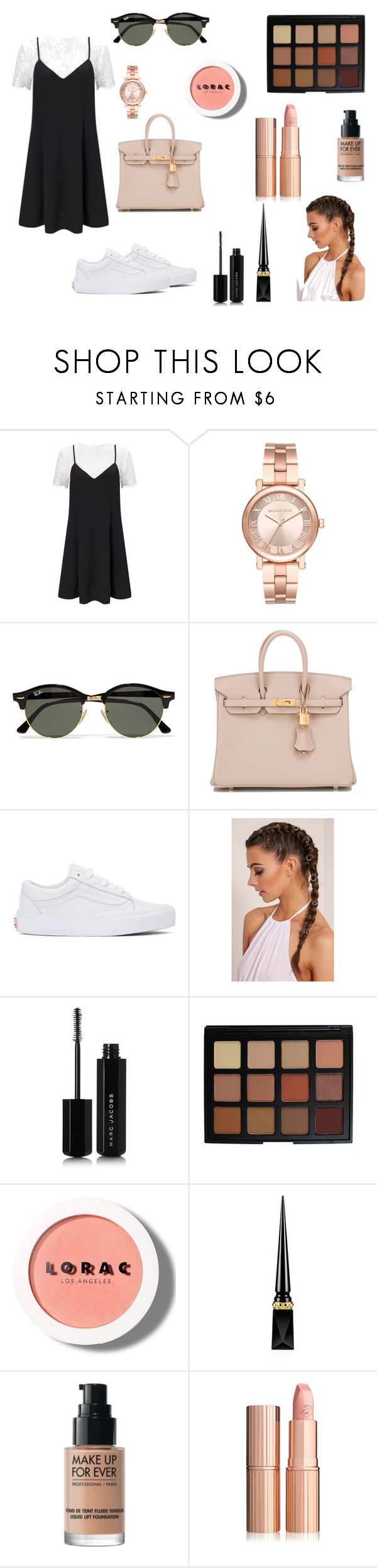 """Untitled #452"" by patricia-correia1990 on Polyvore featuring Miss Selfridge, Michael Kors, Ray-Ban, Hermès, Vans, Marc Jacobs, Morphe, LORAC, Christian Louboutin and MAKE UP FOR EVER"