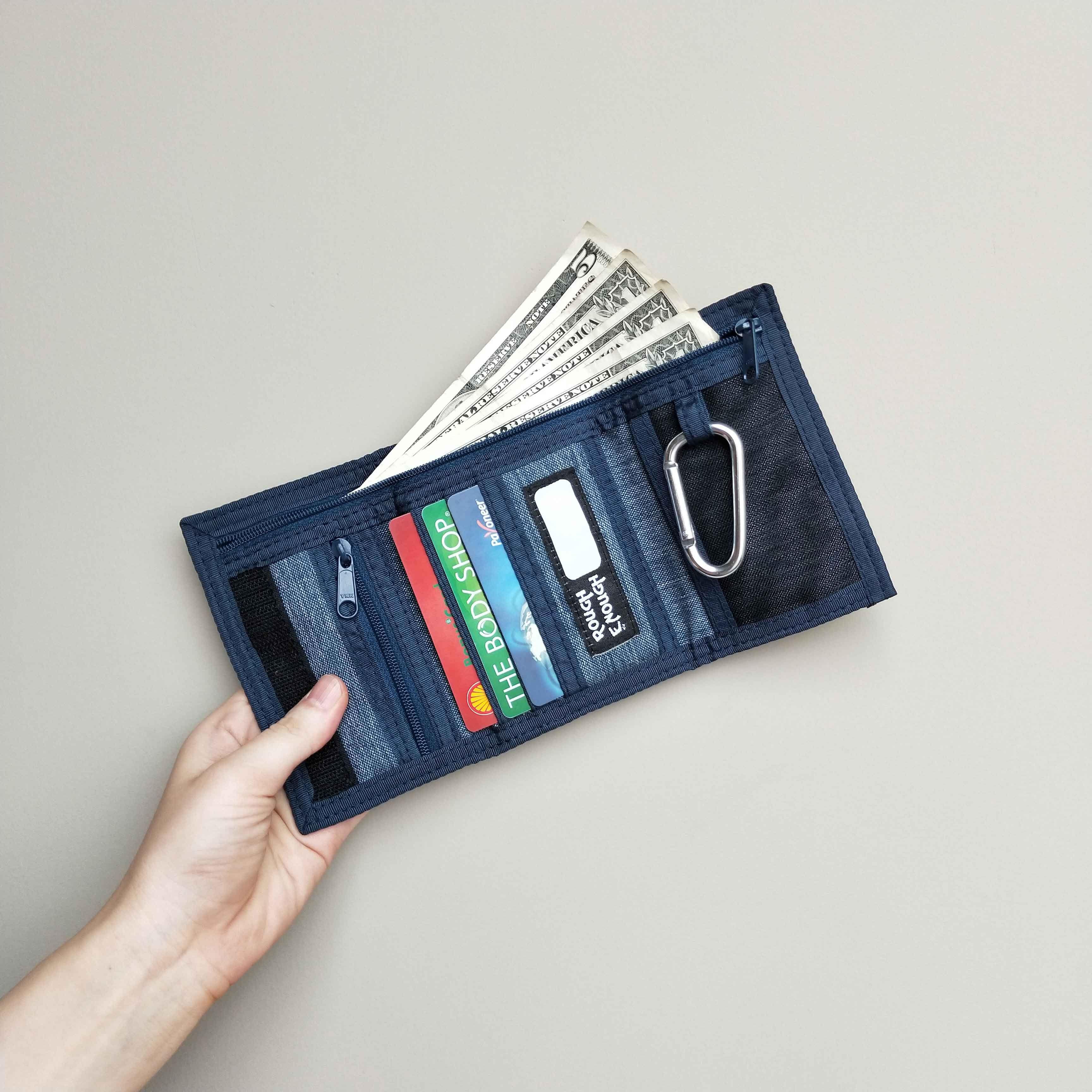 BLUE Rough Enough Premium Durable Mini Cotton Classic Casual Wallet Purse