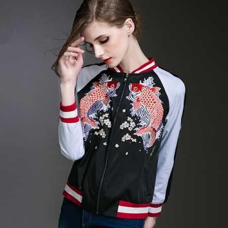 Jacket Women Floral Embroidered Bomber Jacket Satin Black Vintage Autumn  Winter 2017 Fashion Brand Coat Chaquetas Women Clothing Jackets Sale Black  Leather ...