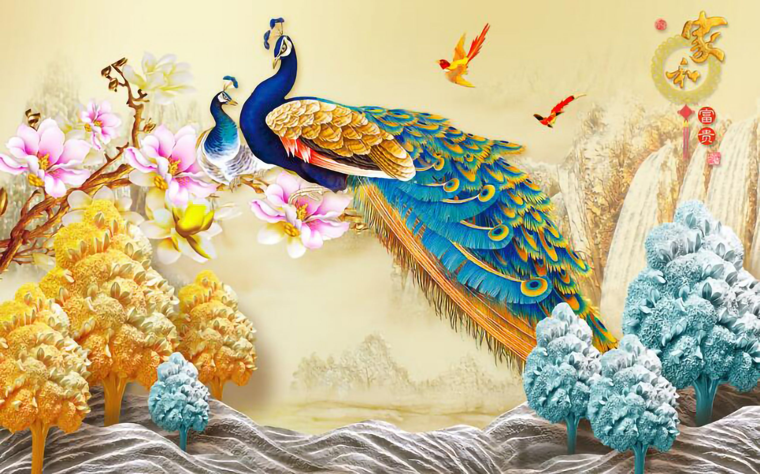 Chinese 3d Wall Sticker Wall Painting Peacock Themed Wall Painting 3d Wallpaper Mural Painting