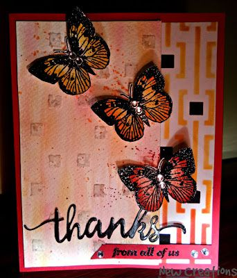 new creations: Magic of Two steps stencilling on Thanks card