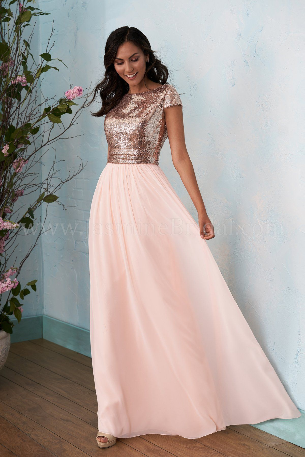 Jasmine Bridal | B2 Style B203012 in Rose Gold/Dreamsicle | Sequin ...