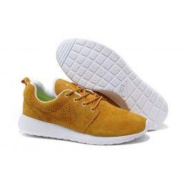 Nike Roshe Run Leder Gelb Weiß Männer Schuhe