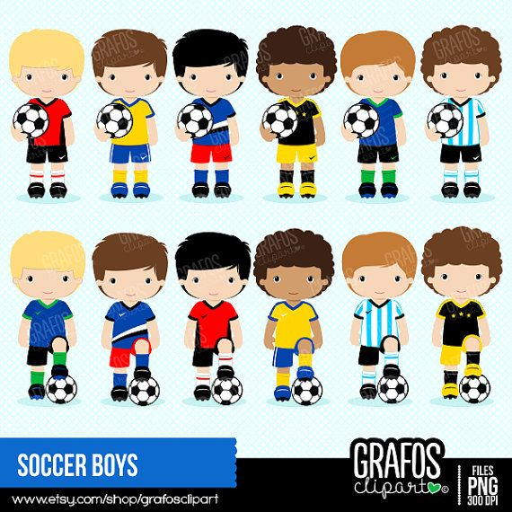 Soccer Boys Digital Clipart Set Football Soccer Clipart By Grafosclipart Etsy Soccer Boys Soccer Kids Soccer