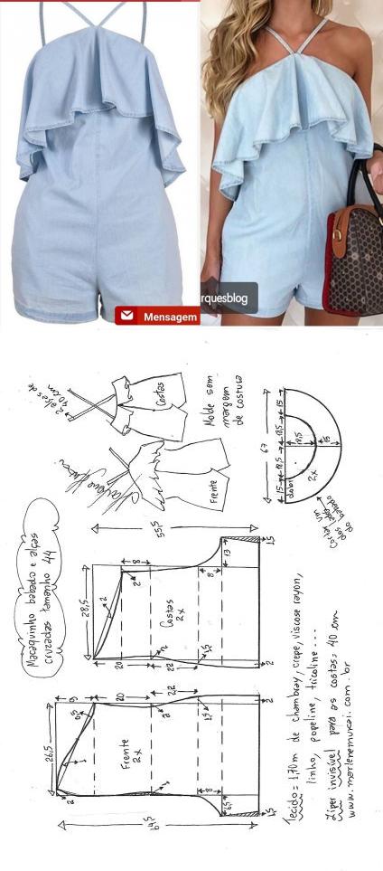 Macaquinho com babado e alças cruzadas | DIY - molde, corte e ...