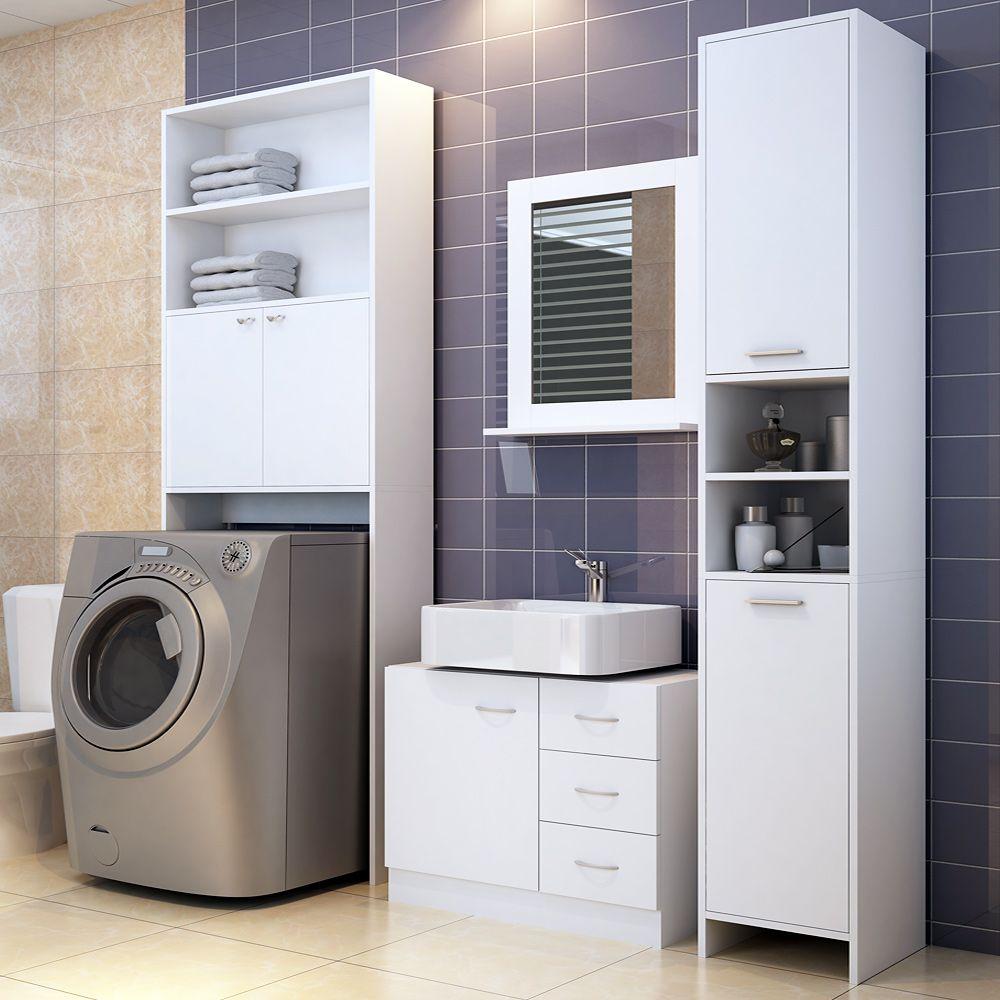 Badmobel Set Weiss In 2020 Hochschrank Waschbeckenunterschrank Regal Weiss