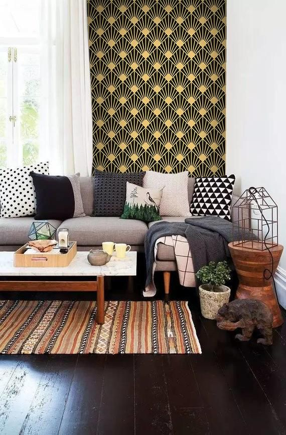 Art Deco Texture Removable Wallpaper Golden And Black Wall Mural