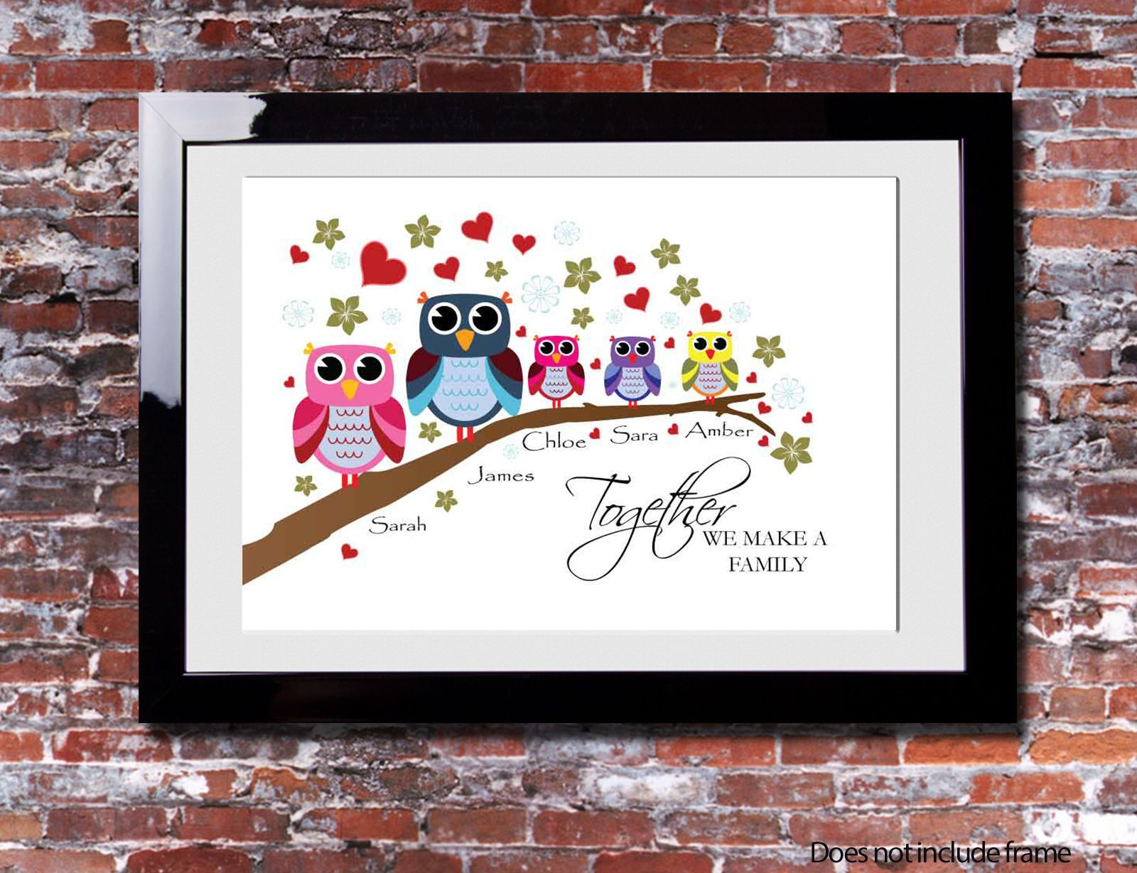 Personalised FAMILY Branch Owl Picture Print Gift Canvas Wall Tree ...