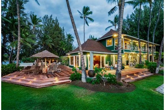 This majestic estate, comprised of approximately 3 acres, is situated on a private, lush peninsula between two incredible ocean bays. It includes a Hawaii-style beach house of five bedrooms and four baths as well as two  two bedroom guest cottages, two greenhouses, and a pool house.  The...