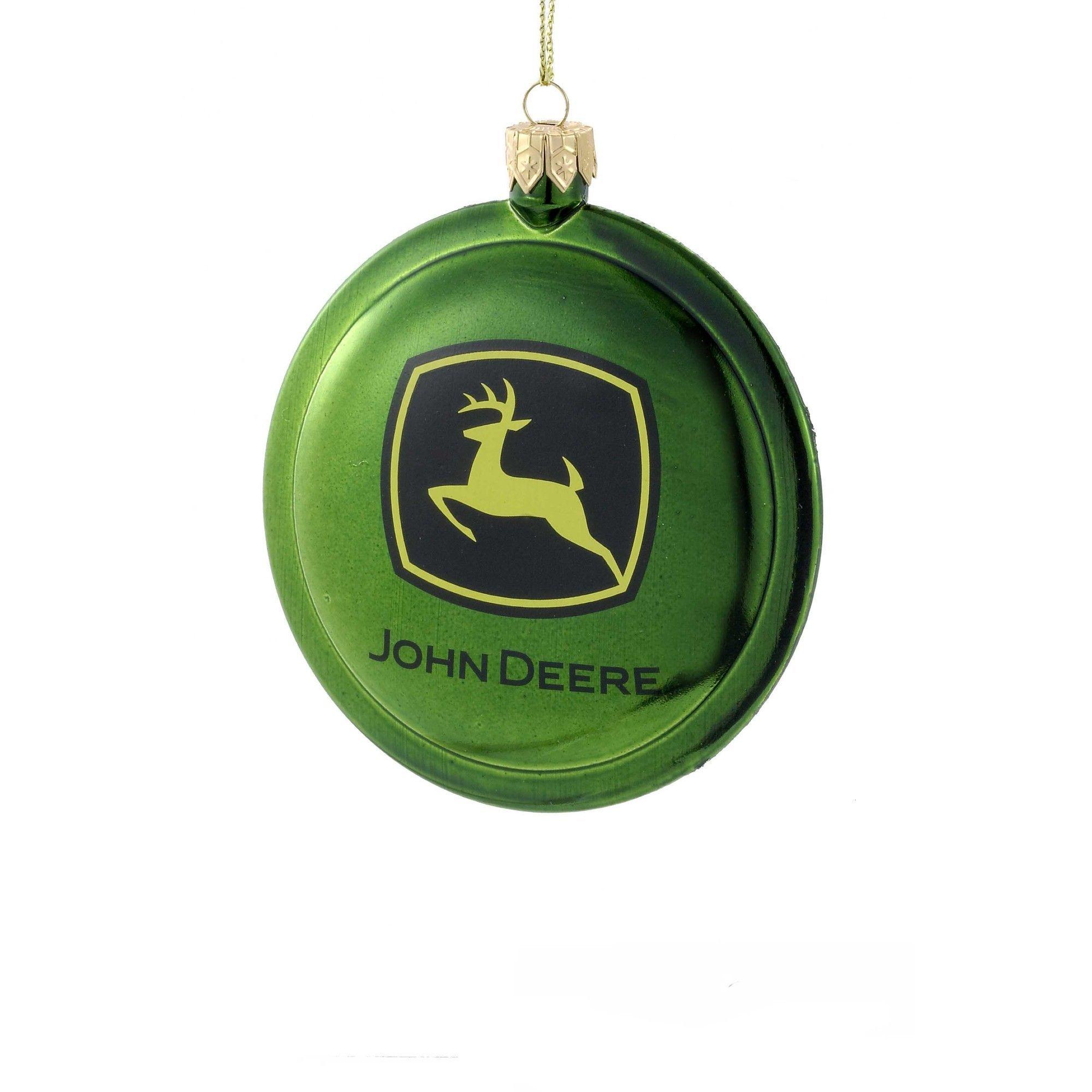 John Deere Logo Shatterproof Disc Christmas Ornament Tractor Ornament New