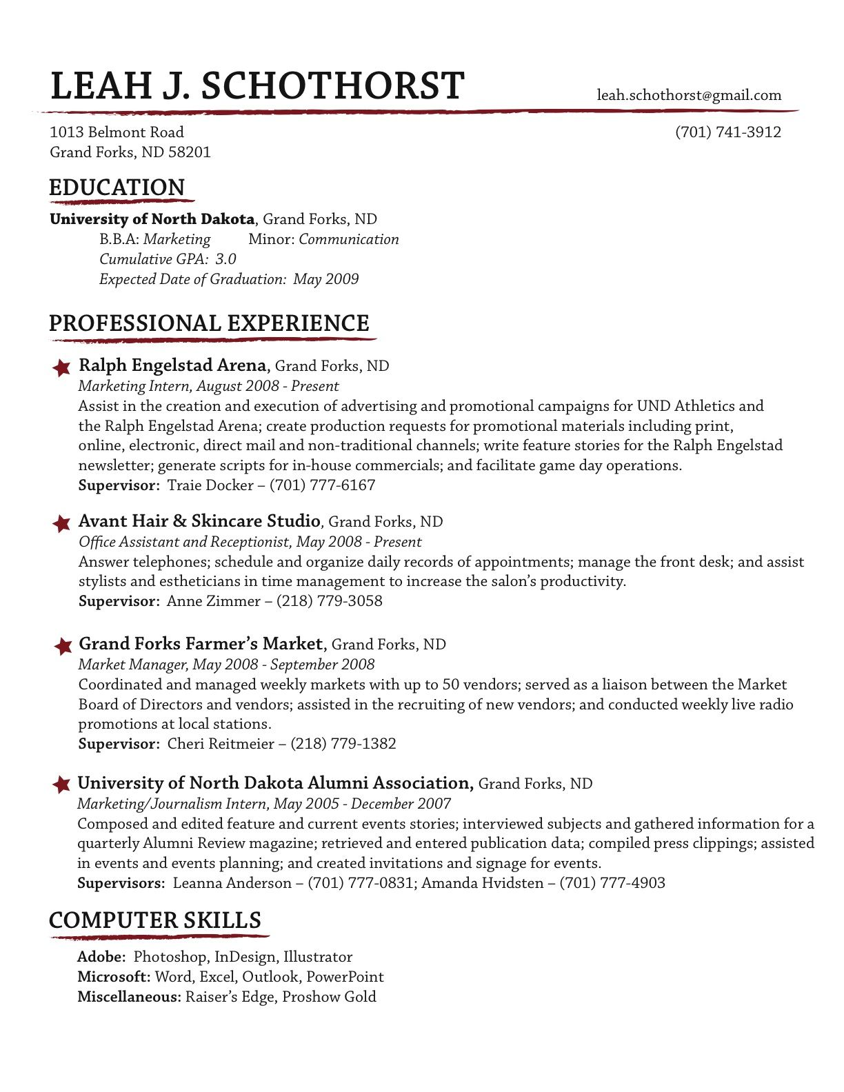 "creative resume - would do ""misc skills"" rather than ""computer"