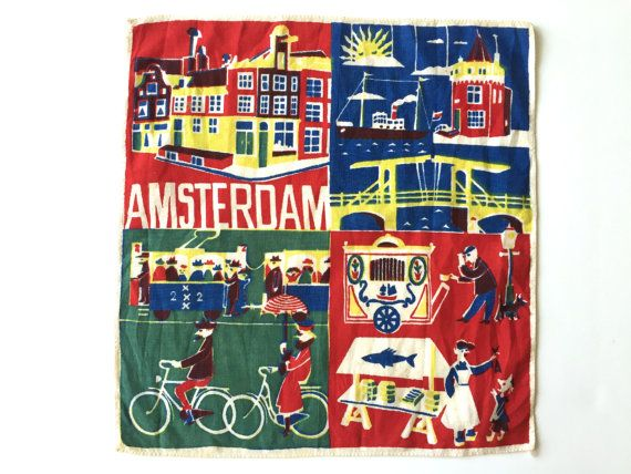 Nice Vintage Mid Century Travel Souvenir Holland Europe Delft Blue Hankie