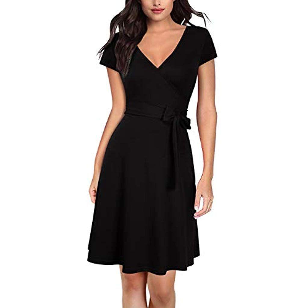 best service 8c817 72f67 KOJOOIN Damen Kleid Business Kleid Knielang Wickelkleid 3/4 ...
