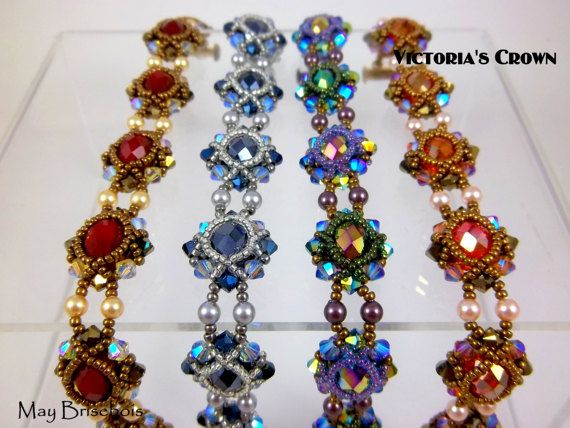 Beading Pattern VICTORIA'S CROWN - Instruction of a Bracelet Earrings and Ring set - Tutorial