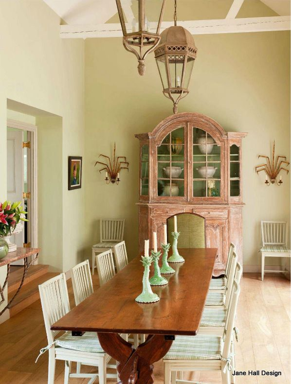 Rustic Style Dining Room In A French Country Home In Soft Pinks And Greens
