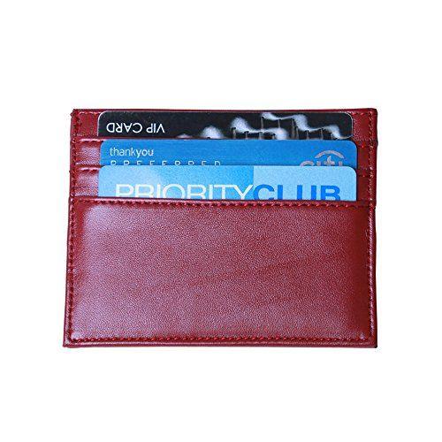 ca90d85c301b Ogem Rfid Blocking Slim Credit Card Holder with 7 Card Slots One Size (Red)