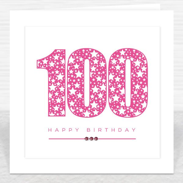 100 Happy Birthday Pink Stars Card Hand Embossed Finished