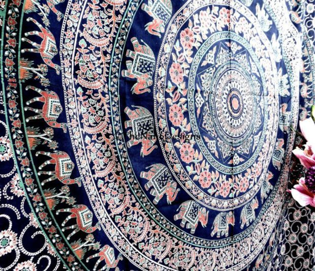 Hippie Boho Wall Tapestries Psychedelic Star Mandala Tapestry Wall Hanging Indian Bedspread