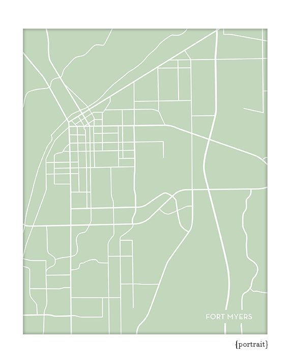 Fort Myers Florida Map.Fort Myers Fl City Print Wall Art Ft Myers Florida Map Poster