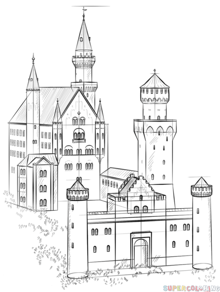 How To Draw The Neuschwanstein Castle Step By Step Drawing Tutorials For Kids And Beginners Drawing Tutorial Drawing For Beginners Neuschwanstein Castle