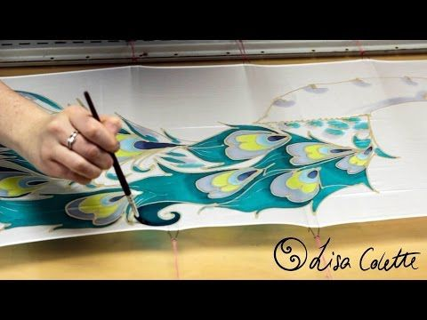 How to paint on silk with cold wax and dyes - YouTube