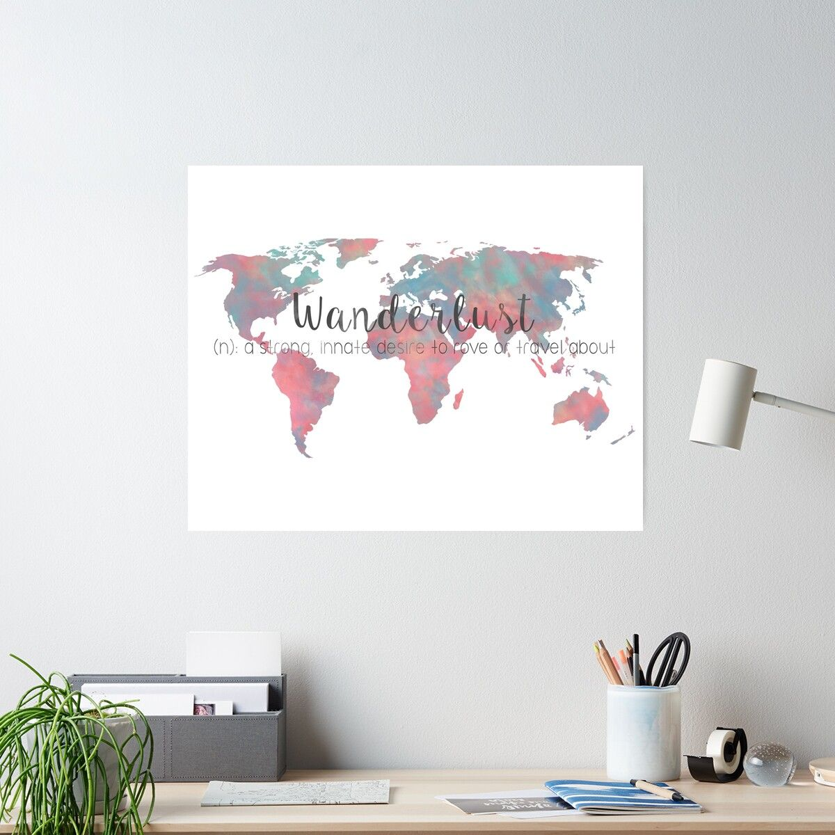 Photo of 'Wanderlust Definition Teal and Pink watercolor map' Poster by Leah Biernacki – Products
