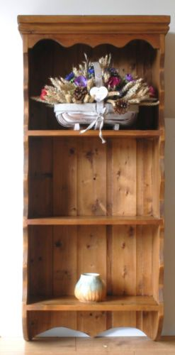 Antique Pine 3 Shelf Wall Display Unit Decorative