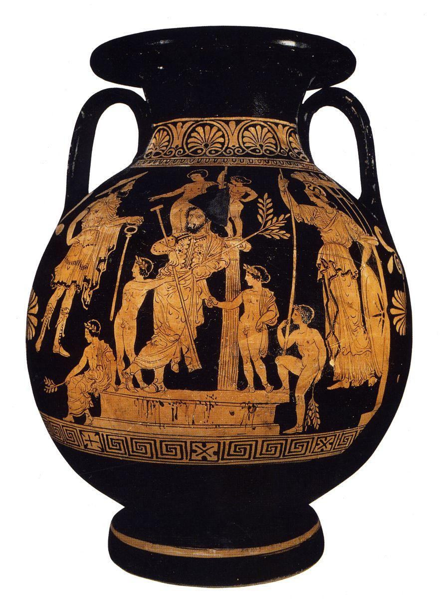 Karneia Painter's Herakles and Alkmene pelike. www.decorarconarte.com