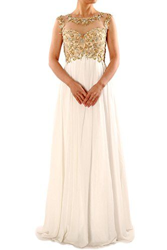Cap Sleeve Long Gold Embroidery Beaded Open Back Chiffon Prom Dress Evening  Gown (6,