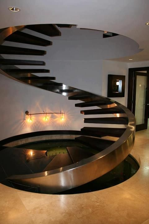 Merveilleux Floating Stainless Steel And Wood Spiral Staircase Via: Just The Design  Http://